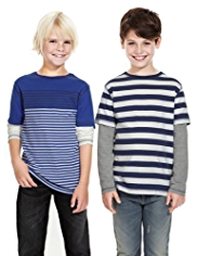 2 Pack Pure Cotton Striped Arctic T-Shirts