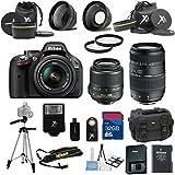 Nikon D5200 Black Camera with Nikon 18-55mm VR Lens Als Variety Premium Bundle + Tamron 70-300mm Lens + 2pc Filter Kit + Wide Angle Lens + 32GB Bandwidth Memory Card + 15pc Accessory Bundle Kit