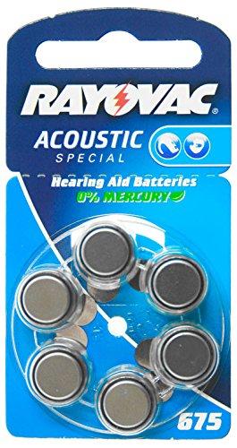 Rayovac typ aE675 pour appareils auditifs - 6 pièces - 1,4 v, zinc-air, 1,4 v