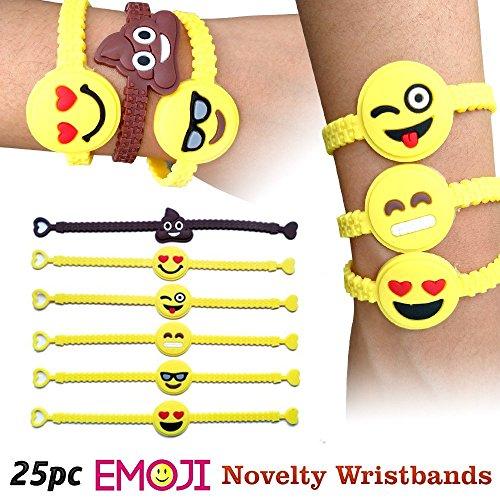 Emoji-Novelty-Toy-Rubber-Wristband-Bracelets-for-Children-25-Mixed-Design-Pack