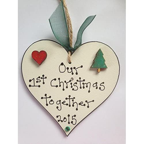 Handmade Couple Christmas Plaque Decoration Gift Our First Christmas Together