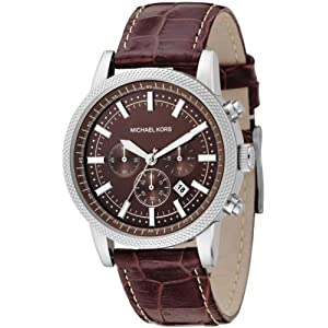 Michael Kors men's watches feature gorgeous round-faced pieces with chronographs and comfortable silicone bands. Proudly display the MK logo on your two-toned bracelet watch or go for a classic look with a Michael Kors leather watch with minimalist styling.