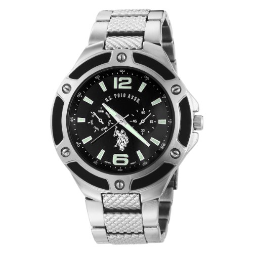 watches mens womens and kids accessories u s polo assn men s u s polo assn men s usc80039 rimmed bezel black dial link watch