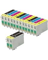 14 Cartouches d'encre d'imprimante (3 séries de 4 + 2 noires) pour Epson Stylus SX125 SX130 S22 SX420W SX425W SX445W BX305F BX305FW SX230 SX235W SX445W SX435W SX430W SX440W, 5x T1281, 3x T1282, 3x T1283, 3x T1284