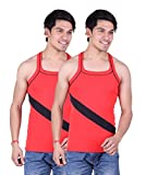 White Moon Gym Vest - Pack of 2 (Red_Red_36)
