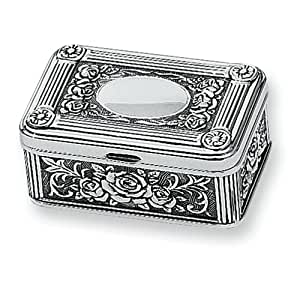 Antiqued Silver-plated Small Rose Jewelry Box