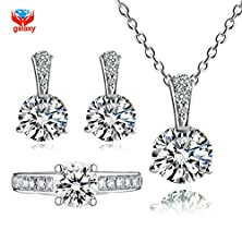buy Strawberry Generation 925 Sterling Silver Jewelry Sets 6Mm 1 Carat Cz Diamond Ring Necklace Earrings Set Bridal Jewelry Sets For Women Ys039