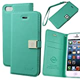 Case for Iphone 5s ,Case for Iphone 5, By Ailun,Wallet Case,PU Leather Case,Cut,Credit Card Holder,Flip Cover Skin,(Green)