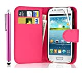 Leather Wallet Flip Case Cover for Samsung Galaxy Young GT-S6310 Young Duos GT-S6312-FREE SCREEN GUARD+STYLUS PEN (Pink)