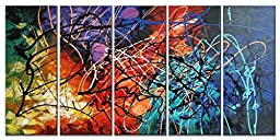Wieco Art - Modern 5 Panel 100% Hand Painted Stretched and Framed Colorful Abstract Heart Oil Paintings Artwork on Canvas Wall Art Ready to Hang for Living Room Bedroom Home Office Decorations