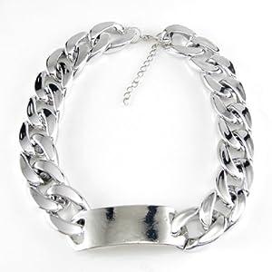 Hot Punk Aluminum Alloy Silver Chunky Curb Chain Link Id Bib Bracelet