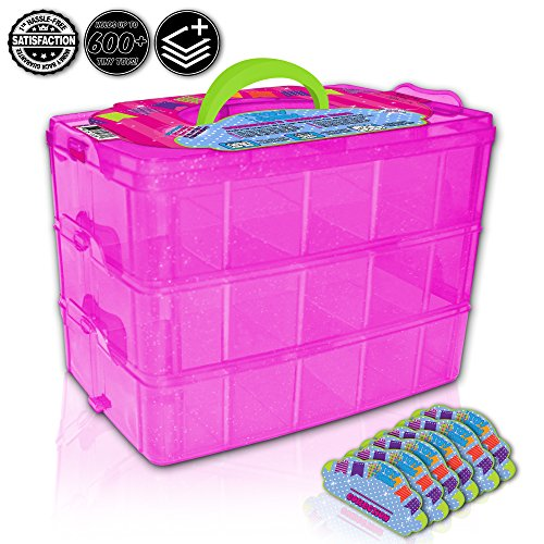 Tiny Toy Box Shopkins Storage Case Organizer Container - Stackable Sparkle Collector's Carrying Tote - Compatible With Happy Places Miny Toys Fash'ems Tsum Tsum Lego Hot Wheels (Pink Sparkle/Green) (Marble Run Fridge compare prices)