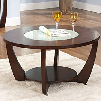 Steve Silver Rafael Round Wood and Glass Coffee Table