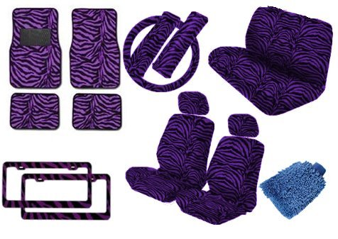 Premium New Style Car Truck Purple Zebra 18pc Low Back Front Seat Covers, Bench Seat Cover with Head Rest, Steering Wheel Cover with Shoulder Pads & 4pc Front & Rear Floor Mats & 2pc Pair License PLates Bonus Detailing WashMitt (Purple Zebra Back Seat Cover compare prices)