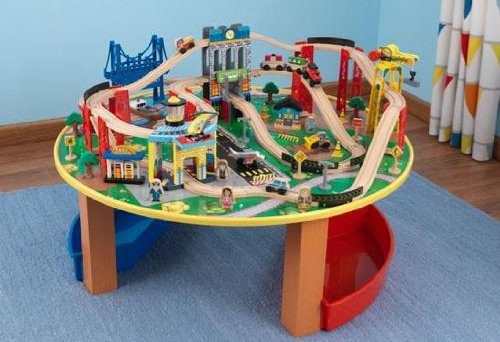 KidKraft City Explorer Wooden Train Set & Play Table w/ 80 Toy Pieces | 17985