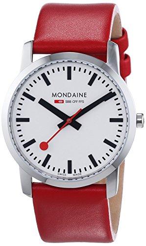 Mondaine Simply Elegant A400.30351.11SBC - Orologio da polso da donna, cinturino in pelle colore rosso