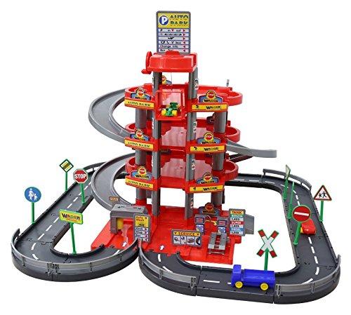 Garage mit 4-Ebenen mit Straße und Autos