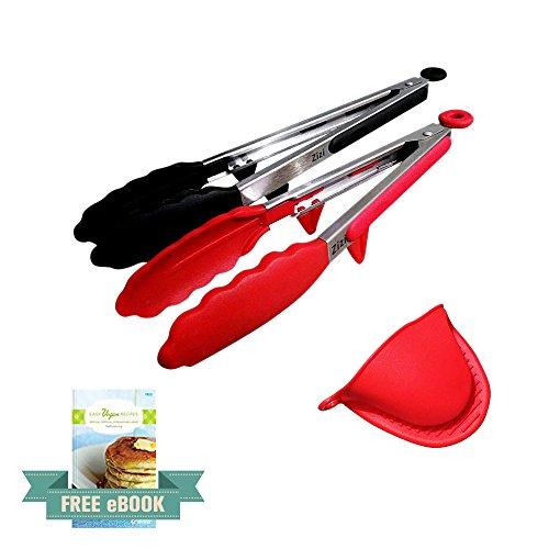 Zizi de cuisine en silicone Premium Pince-Lot de 2, 22,9cm (Rouge) et 30,5cm (Noir) + Bonus en silicone Gant Four (Rouge)-Facile et grip antidérapant Poignée en acier inoxydable-Smart de verrouillage clip-Résistant à la chaleur, de qualité alimentaire-Ustensile pratique pour cuisiner, Servir, barbecue, Buffet, Salade, glace, sucre, pince à four (Noir)-Multi couleur-rouge & noir + eBook