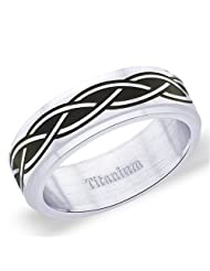 7 Mm Peora Titanium Two Tone Combination Finish Rope Design Band Ring For Men (TR208)