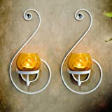TiedRibbons® Tlight Candles Holder /Wall Sconce Holder Pack Of 2(Black, Metal)