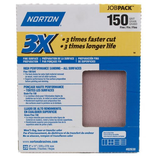 Norton 3X NoFil Job Pack Abrasive Sheet, Fast Cut Rate, Paper Backing, Aluminum Oxide, Grit 150 (Pack of 20) Picture