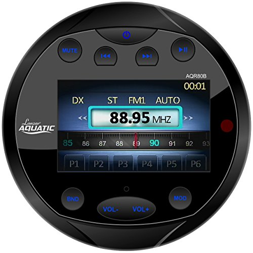 Lanzar AQR80B Aquatic Waterproof Bluetooth Marine Digital Receiver Stereo Radio, USB/MP3/AM/FM/AUX Input, Round/Circle