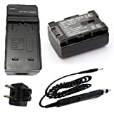 Battery + Charger for JVC Everio GZ-HM300BU, GZ-HM320BU, GZ-HM340BU HD Flash Memory Camcorder