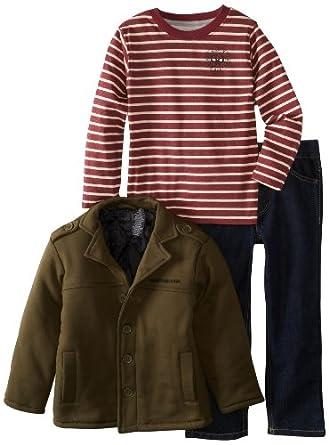 (新品)Calvin Klein Boys Jacket With Tee And Jeans男童外套T恤牛仔裤3件套仅$29.99