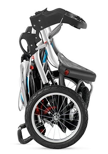 Schwinn Turismo Single Swivel Stroller, Grey/Blue