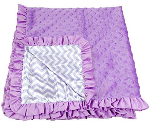 Boy or Girl Unisex Lavender Chevron Print Minky Baby Blanket - 1