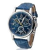 選べる 5 色 メンズ 薄型 腕時計 レザー ベルト ビジネス ウォッチ シンプル スーツ 軽量 フォーマル アウトドア スポーツ (スカイブルー) 126