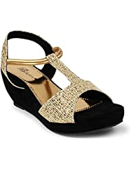 Bellafoz Golden & Black Party Wear Wedges
