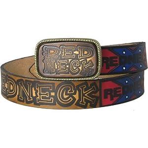 Hot Buckles Unisex Rebel Redneck Pride Full Grain Leather Belt