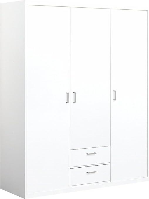 CS Schmalmöbel 12/140 Kleiderschrank, Holz, weiß, 157 x 54 x 194 cm