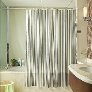 Black And White Stripe Gray Green Waterproof Pvc Shower Curtain