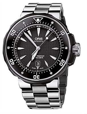 Oris Men's 01 733 7646 7154 07 8 26 71PEB Black Dial Watch