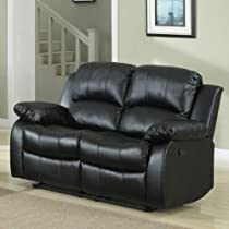 Big Sale Homelegance Cranley Double Reclining Bonded Leather Love Seat in Black