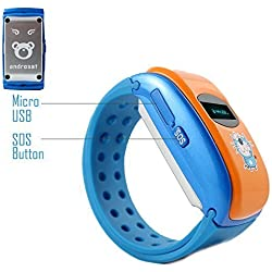ANDROSET Kids GPS Tracker SIM Card Operated Watch for Children-2 Way Talk (BLUE/ORANGE) by ANDROSET