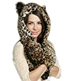 LATH.PIN Husky Faux Fur Full Animal Hood Hoodie Hat 3-in-1 Mittens Gloves Scarf Spirit Paws Ears Christmas Gift (P0002-4)
