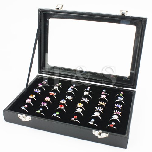 H&S® Glass Lid 36 Ring Jewellery Display Storage Box Tray Case Stand - Black