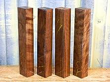 buy 4- Figured Black Walnut Turning Wood Pen Blank/Knife Scale/Duck Call T: 1 3/8'', W: 1 13/16'', L: 10 5/8'' - 9854