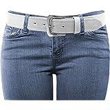 LUNA Women's Thick Color Stitch Dress Belt - White X Large