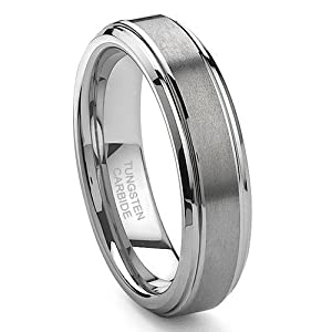 Tungsten Carbide Ring Brushed center 6mm size 10