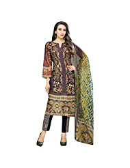 Purple And Navy Blue Cotton Satin Party Wear Pakistani Salwar Suit Semi Stitched Dress Material