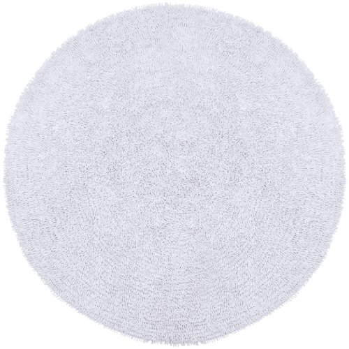 White 5' Round Shagadelic Chenille Twist Rug with Free Shipping