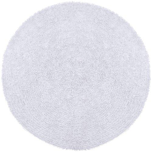 White 3 Round Shagadelic Chenille Twist Shag Rug Black
