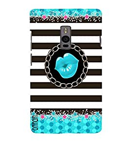 Omnam Blue Lips Printed With Black And White Pattern Combination Designer Back Cover Case For OnePlus Two