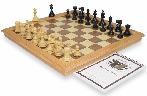 New Exclusive Staunton Chess Set Package in Ebonized Boxwood & Boxwood with Oak Framed Folding Chess Case - 3
