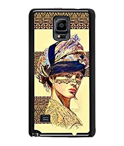 Fuson Egyptian Pattern Girl Back Case Cover for SAMSUNG GALAXY NOTE 4 - D3907