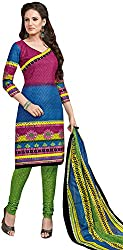 Tripssy Women's Cotton Printed Unstitched Salwar Suit (fb_dm_32, Green)